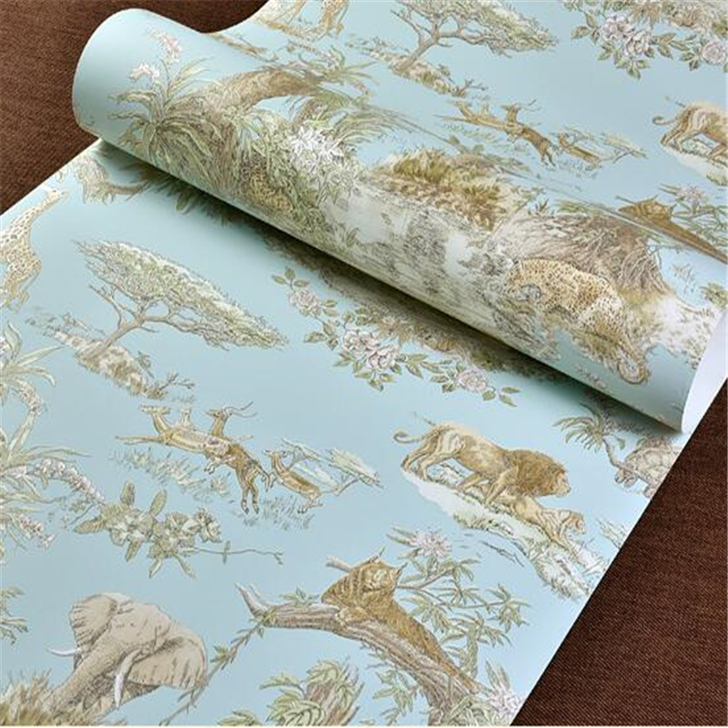 ФОТО beibehang papel de parede Southeast style elephant giraffe non woven wallpaper living room bedroom bedside background wallpaper