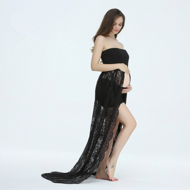 c196ad78ca19 Black Maxi Maternity Dresses Stretch Lace Boob Tube Split front Maternity  Photography Dress (without shorts)