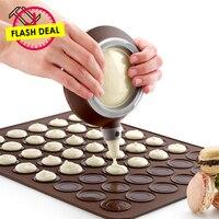 TTLIFE Siliconen Bakken Mat Bitterkoekje Bakvorm Set Macaron Bakplaat met Decor Pen 48 Cirkels DIY Chocolade Cookie Mould
