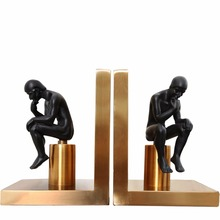 1 Pair/Pack Electroplated Metal Human-Thinker Bookend for School Stationery & Office Supply
