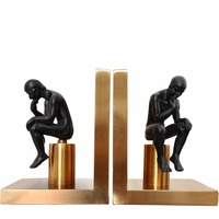 1 Pair/Pack Electroplated Metal Human Thinker Bookend for School Stationery & Office Supply