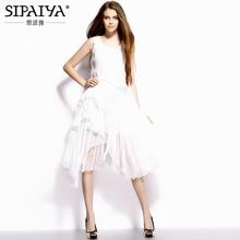 エレガントな白ミディドレスレディース 2017 夏スタイル不規則な裾純粋なシルクドレス女性ボヘミアン休日のため
