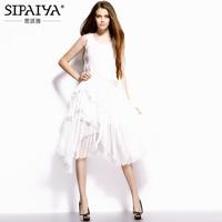 Elegant White Midi Dress Womens 2017 Summer Style Irregular Hem Pure Silk Dress Women Bohemian Beach Dress for Holiday
