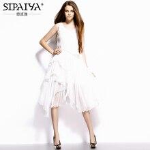 Elegante Weiße Midi Kleid Frauen 2017 Sommer Stil Unregelmäßigen Saum Reine Seide Kleid Frauen Bohemian Strand Kleid für Urlaub