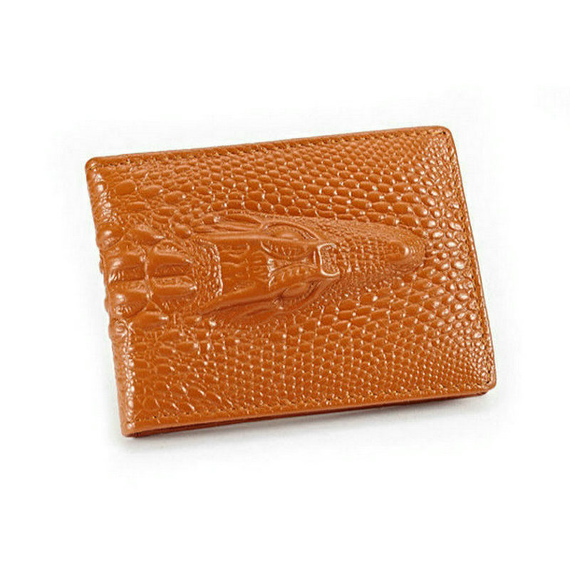 Genuine Cow Leather Women Card Wallet Alligator Pattern Card Holder For Women And Men Large Capacity