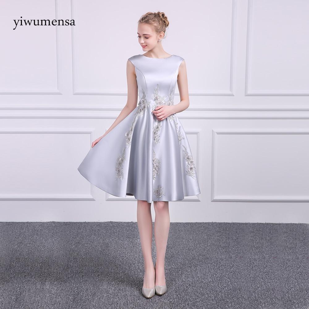Free Ship Elegant Vestido de Festa Curto Satin A line Short   Prom     Dresses   2017 Real Image Sliver Evening Party   Prom     Dress   2018