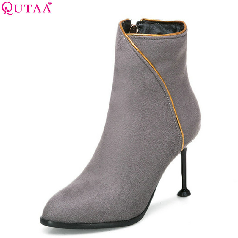 QUTAA 2018 Women Ankle Boots Fashion Women Shoes Winter Shoes All Match Thin High Heel Pointed Toe Women Boots Size  34-43QUTAA 2018 Women Ankle Boots Fashion Women Shoes Winter Shoes All Match Thin High Heel Pointed Toe Women Boots Size  34-43