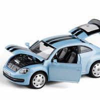 Venta caliente clásica 1:32 modelo de coche de aleación de escarabajo, simulación de sonido y luz para niños modelo de coche trasero, envío gratis