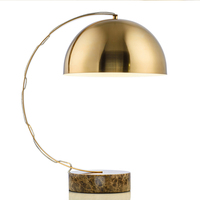 American Style Metal Plating Marble Base Table Lamp Living Room Modern Study Creative Bedroom Desk Lamps