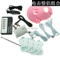 Adult Games 6 in 1 Electro Shock Kit Uretheral Plug Breast Massager Pads Vaginal Plug Cockring Therapy Pads Nipple Clip