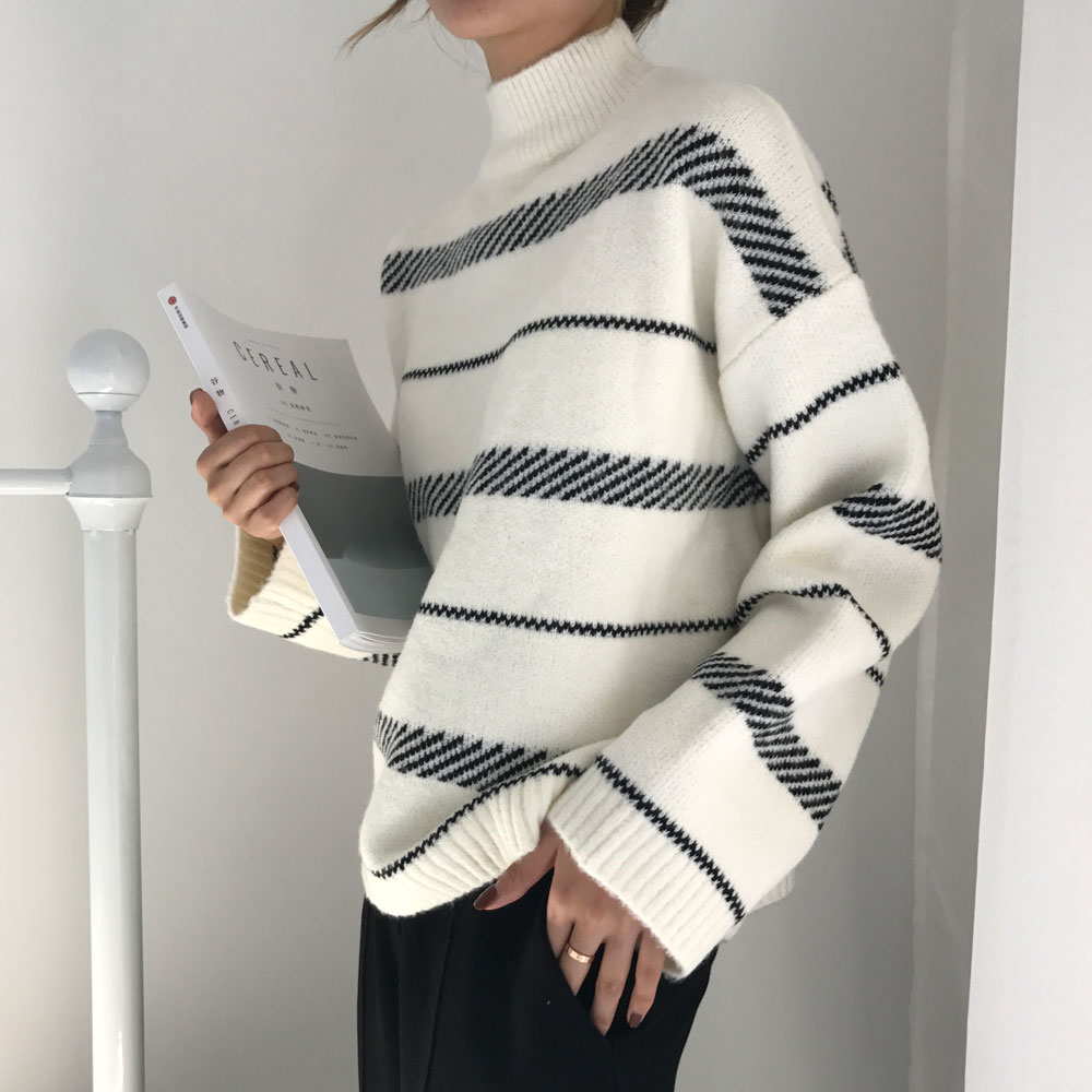 2019 Chic Rabbit Yarn Striped Sweater Sweater Trend Loose Street Style Lazy Literary Temperament Female Fresh And Unique Woman
