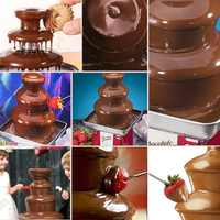 Ru wrehouse 3 Tiers Commercial Stainless Steel Hot New Luxury DIY Chocolate Fondue Fountain Cake supplies