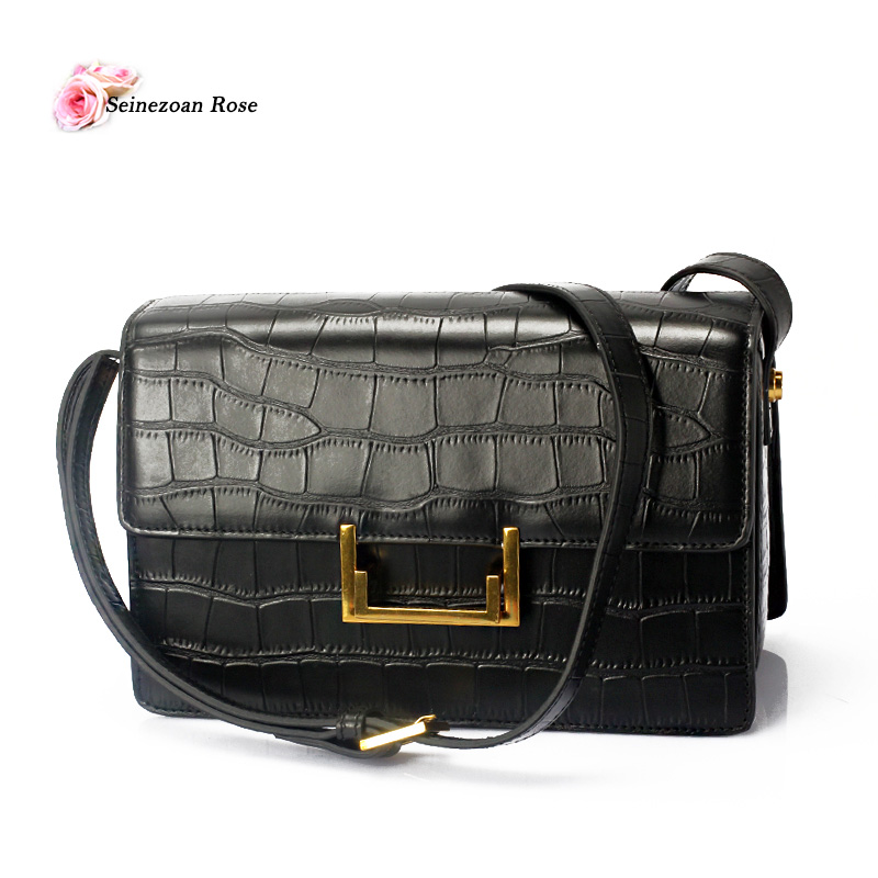 ФОТО Women Genuine Leather Bags Brand Designer Flap Handbags Luxury Ladies Real Leather Crocodile Bag Small Women Black Messenger Bag