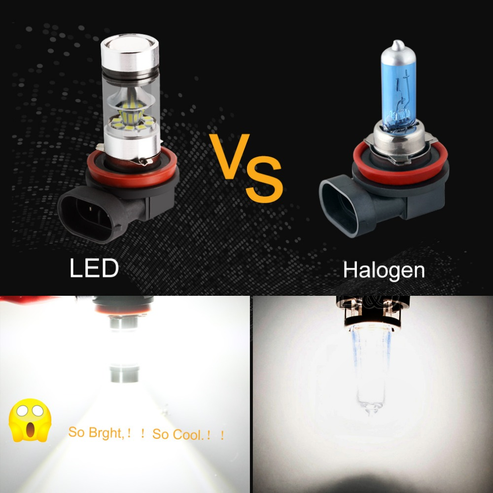 H8 H11 Super Bright 1250LM LED Bulbs Car Fog Lights DRL Driving Tail Lamp Car Light Source parking 12V-24V 100W 6000K White D030
