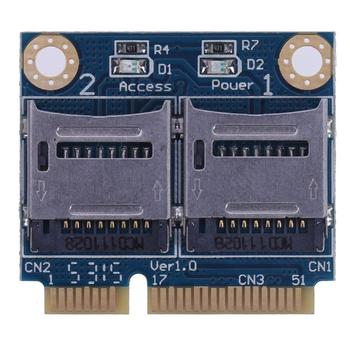 Mini PCIE PCI Express Memory Card Adapter PCI-E to Dual TF SDHC SDXC Reader Adaptor Converter for Micro SD Card