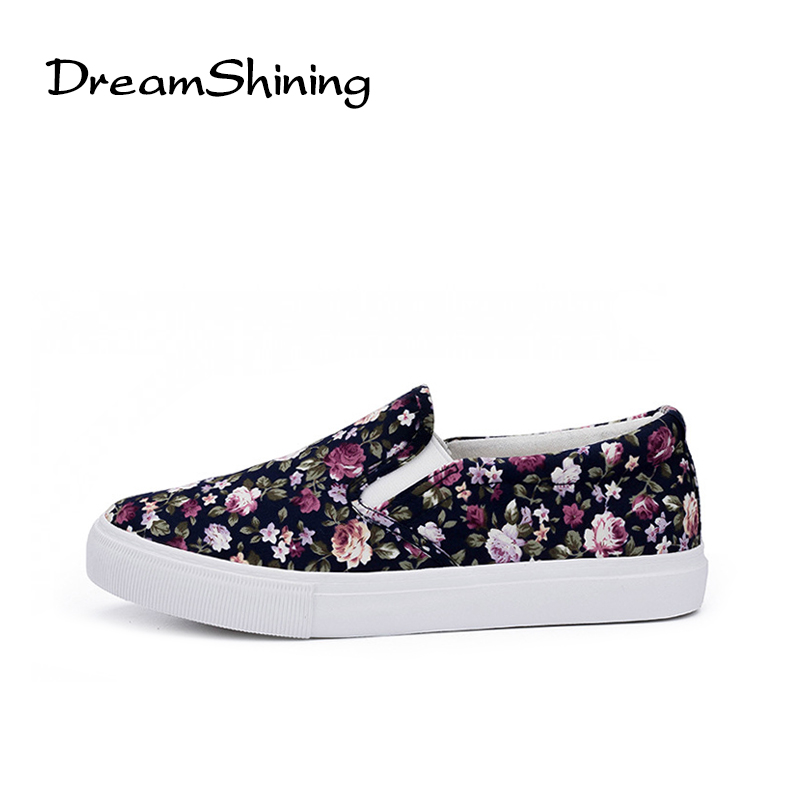 DreamShining Flower Print Women Flat Shoes Platform Summer Loafers Comfortable Ladies Slip On Flats Casual Canvas Shoes akexiya casual women loafers platform breathable slip on flats shoes woman floral lace ladies flat canvas shoes size plus 35 43