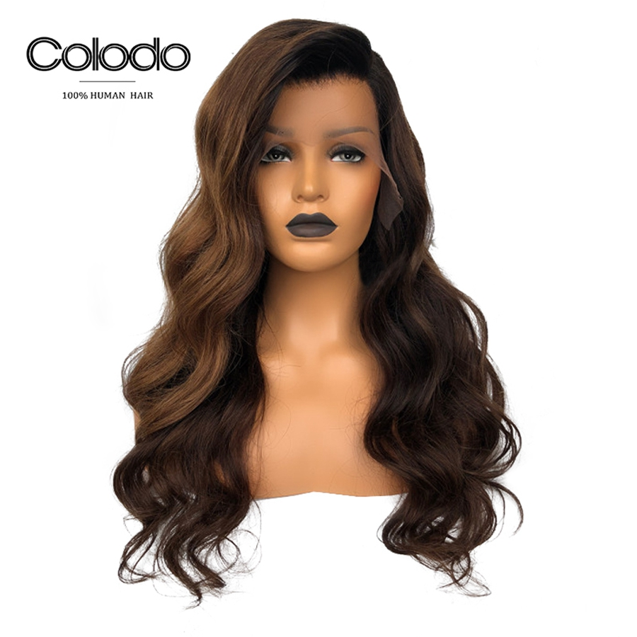 COLODO Brown Ombre Human Hair Wig Remy Brazilian Preplucked Lace Wig For Black Women Highlight Lace Front Wig With Baby Hair