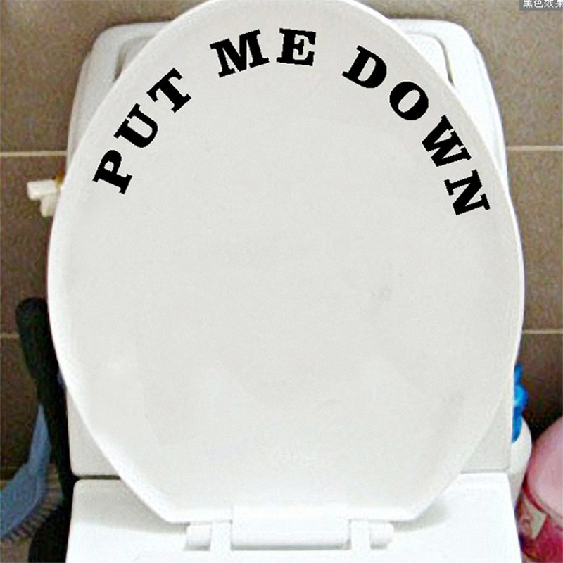 New Arrival PUT ME DOWN Decal Bathroom Toilet Seat Sign Reminder Quote Word Lettering Art Vinyl Sticker Decal Home Decor