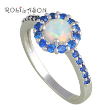 Mini Blue Zircon design Hot sell White Fire Opal Silver Stamped Crystal Fashion Jewelry Rings USA #6#7#7.5#8#8.5#9 OR712