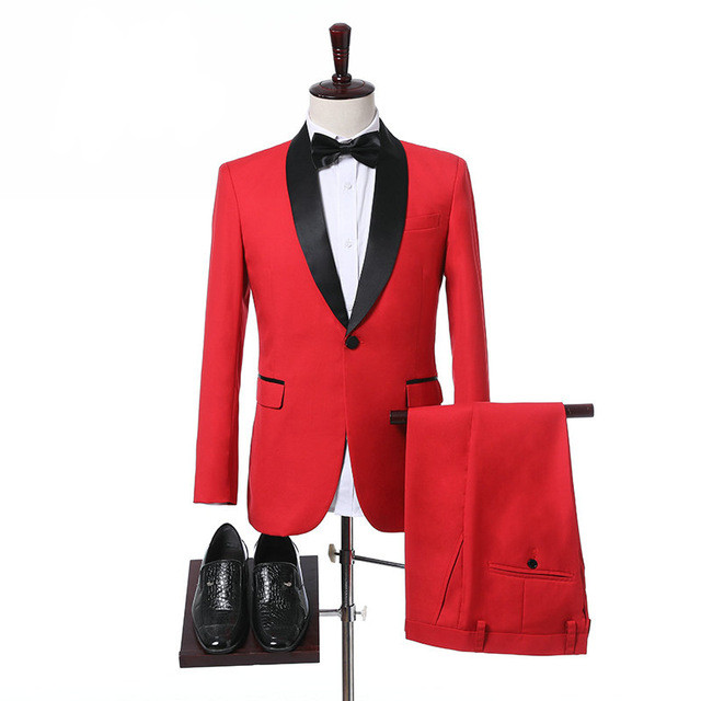 Red Wedding Mens Suit With Black Lapel Prom Suits 2Pieces(Jacket+Pant+Tie) Groom Masculino Tuxedos Custom Made Slim Fit Men Suit