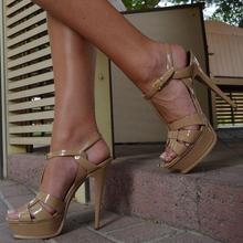 Nude Patent Leather Platform Sandals T Strap Ankle Buckle Thin High Heels Women Sandals Plus Size Banquet Dress Shoes 2015 plus size sweety women sandals wedges high heels patent leather t strap ankle buckle strap chunky rivets decorated summer