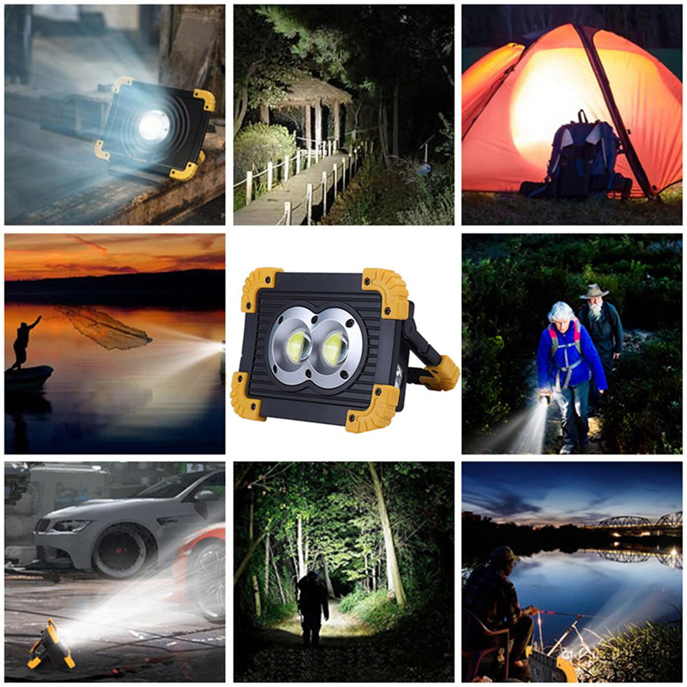 Купить с кэшбэком 100W Led Portable Spotlight Work Light USB Rechargeable Flashlight 2*18650 Or 3*AA Battery For Hunting Camping Led Latern