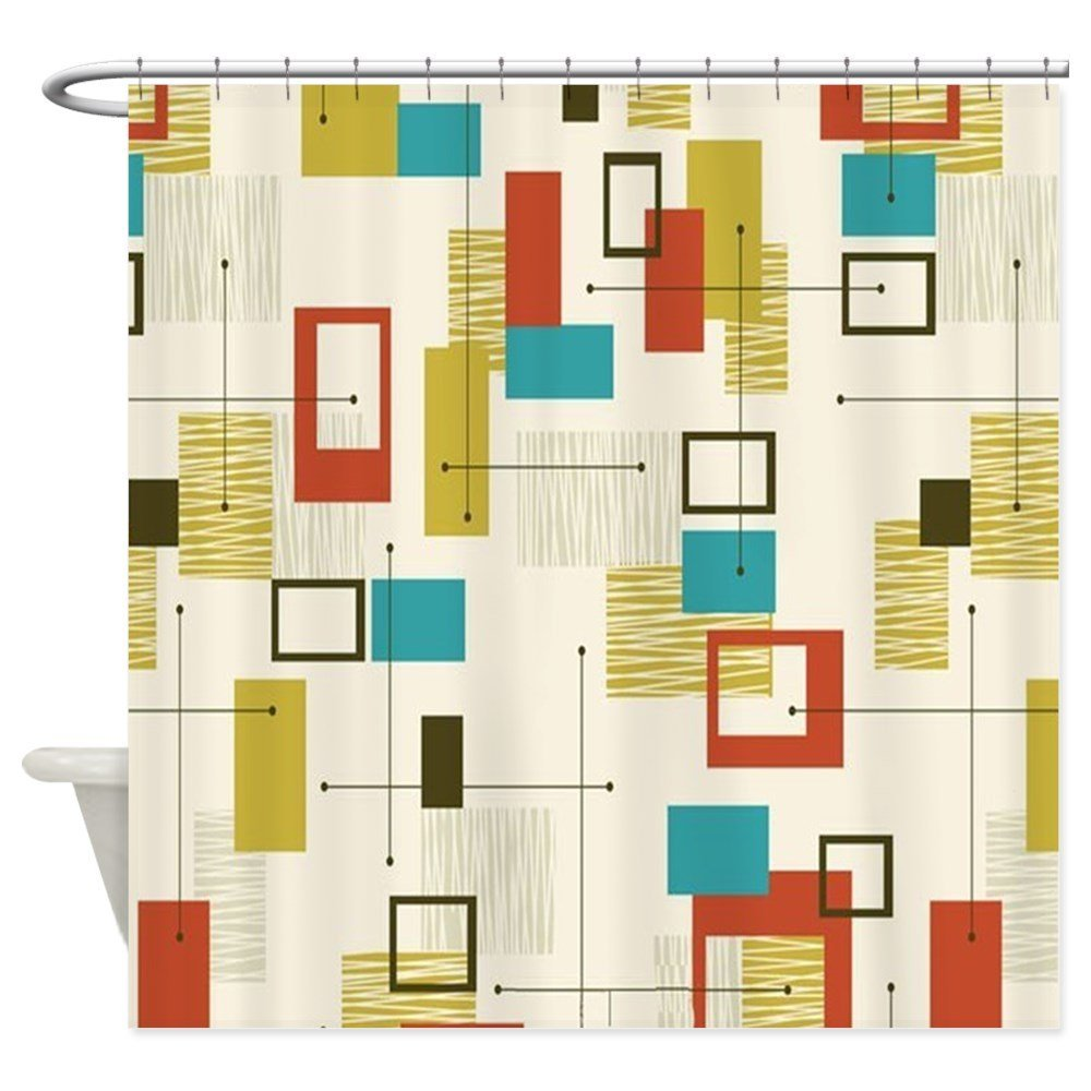 Fun Geometric, Mid Century Modern - Decorative Fabric Shower Curtain ()