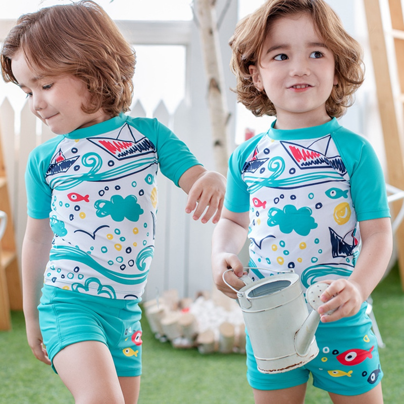 54f6a88767 Swimwear Kids Boys Swimsuit Two Pieces Rash Guards Swimming Bathing Trunks  Swim Wear Set UV Sun Protection Children Swimsuits | All Things Baby