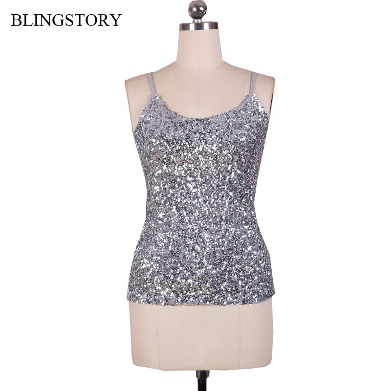 BLINGSTORY Europe Fashion Summer spaghetti strap nightclub   tank     tops   Silver Sequin   top   Dropshipping KR1007-8