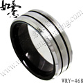 Free Shipping  Fashion Mens Black and silver Tungsten Carbide Ring  Brush Hot Sales Jewelry Finger Ring 8mm