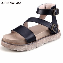 e9e2b2056d8100 Genuine Leather Rome Handmade Sandals Women Shoes Flat With Black Brown  Sandals Big Size 34-43 High Quality Buckle 2018 Sandles