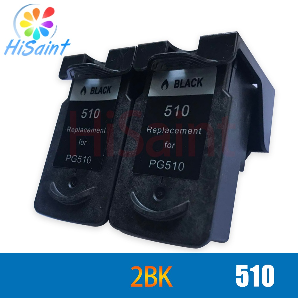 hisaint 2 PCs Black Ink Cartridges For Canon 510 PG510 PG 510 PG-510 MP270 MP480 MP490 MP492 MP495 MX320 MX330 Inkjet Printer image