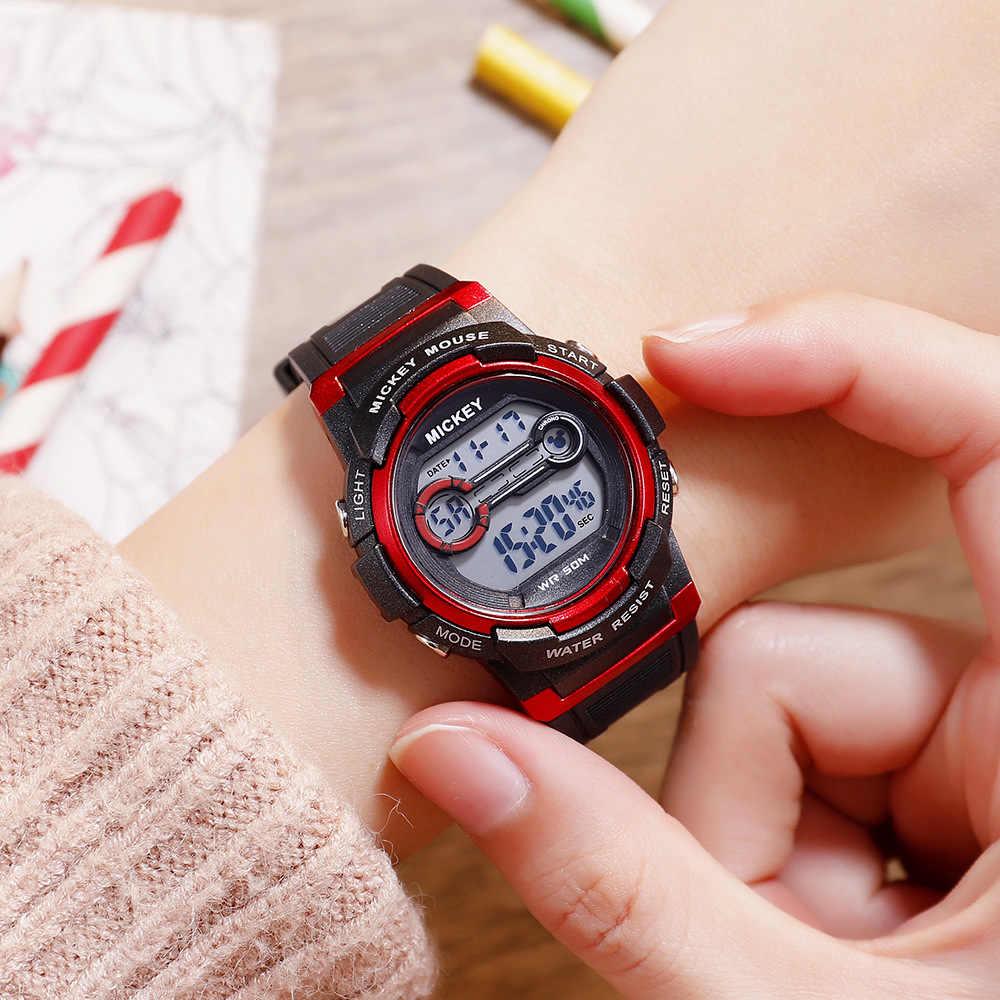 ילדים שעונים דיסני מותג ילדי בני בנות שעון דיגיטלי תכליתי עמיד למים ילד שעוני יד מיקי עכבר