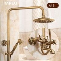 Классический Rain Shower Системы с ручной душ и носик, античная бронза, 8 дюймов дождь Насадки для душа