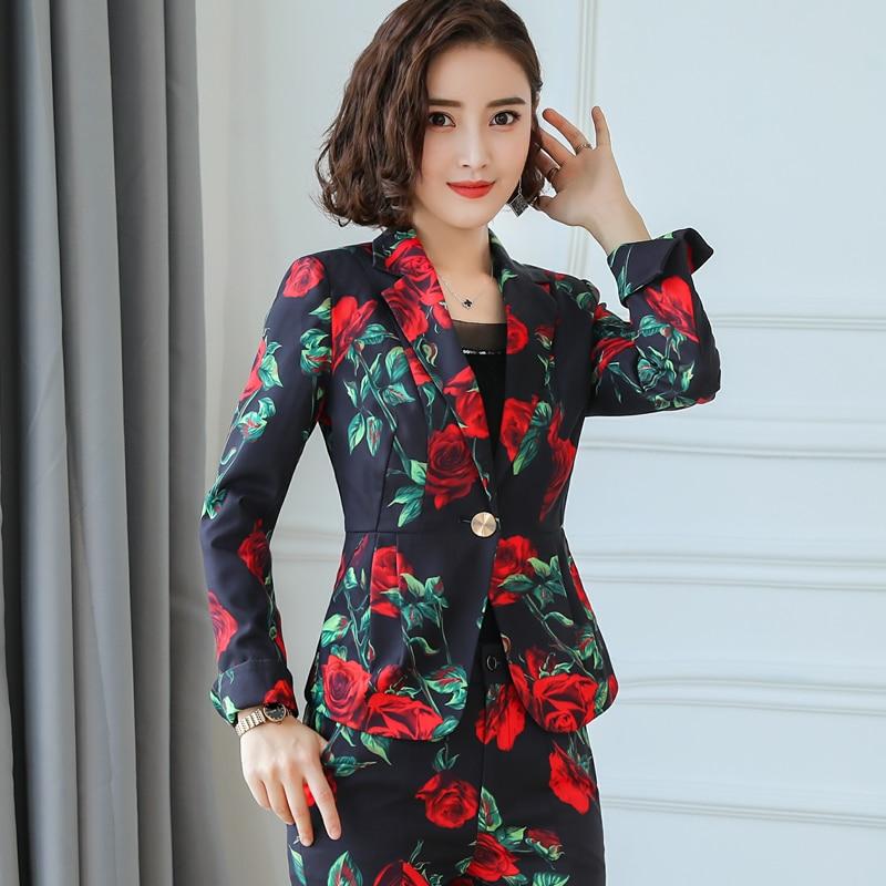2018 Manches Deux 1 Dames Veste D'impression Costume Cassé Femmes Pièce De Mode 2 Marée Fleurs Slim Longues Petit Nouveau T16zxtqw