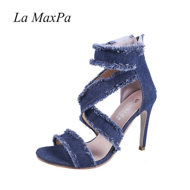 La Maxpa 2018 Yaz yarım çizmeler Ayakkabı Kadın Yüksek Topuklu Mavi Kot Denim Sandalet Gladyatör Moda Geri Fermuar Bayan Ayakkabıları