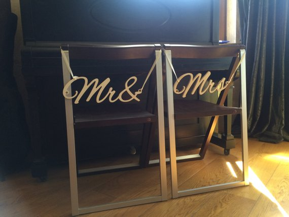 Customized Wedding Wood Chair Signs Bride & Groom Chair