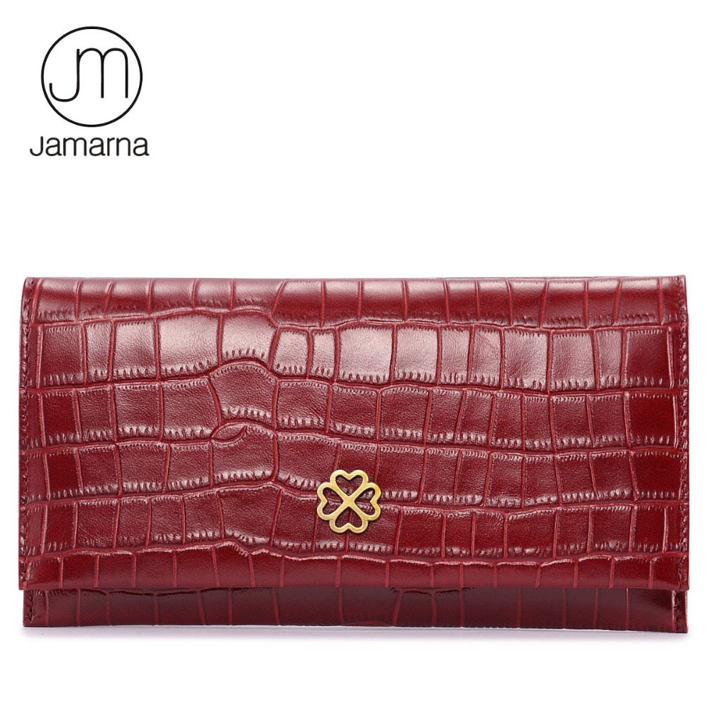 Jamarna Brand Crocodile Leather Women Wallets Long Clutch Female Purse Credit Card Coin Purse Phone Holder Wallet For Women Red brand 3 fold genuine leather women wallets coin pocket female clutch travel wallet portefeuille femme cuir red purse card holder