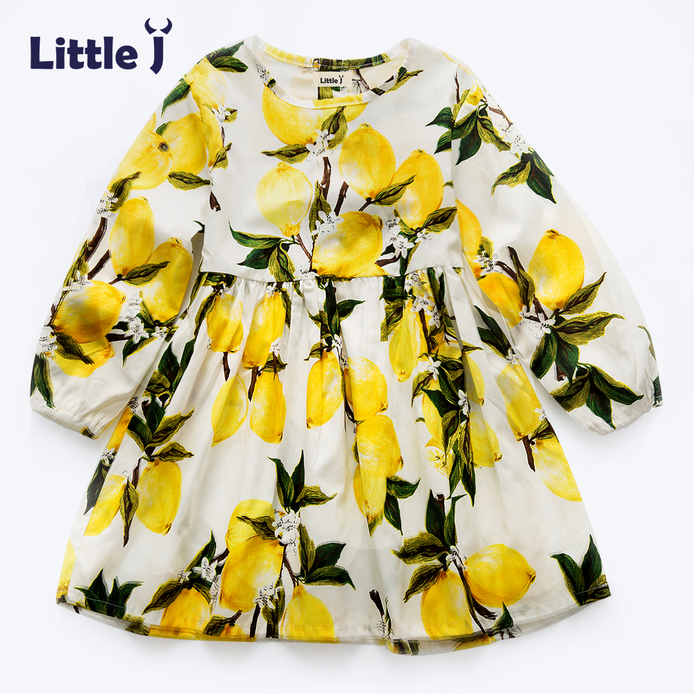 Clearance Lemon Pattern Girls Dress Floral Kid Clothes Girl Long Sleeve Cotton Princess Dress Spring Chidren Sundress 2-7Y ...