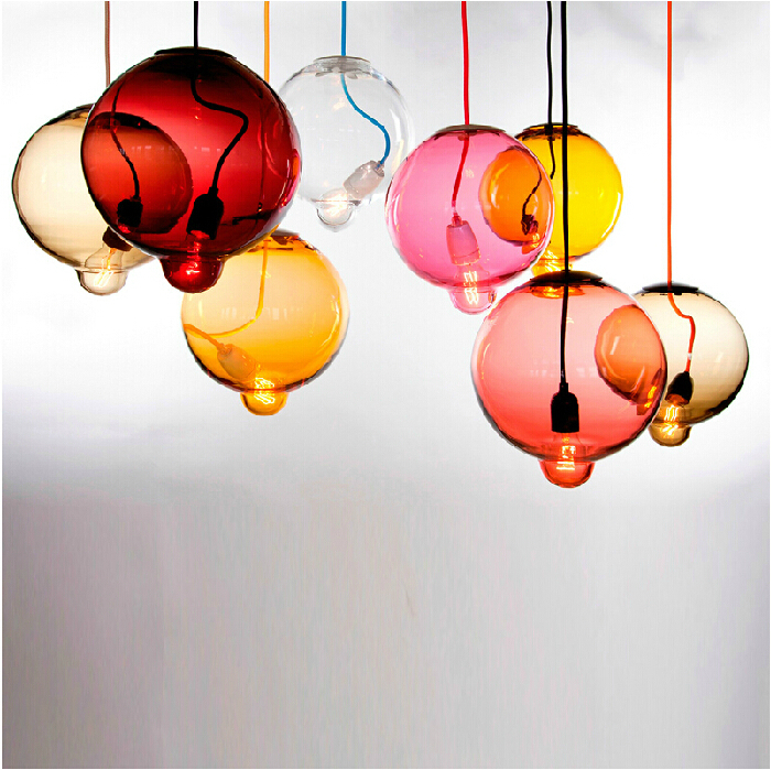 vintage creative candy color balloon glass led e27 Pendant Light for living room dining room shop Dia 18cm 110-265V 1878