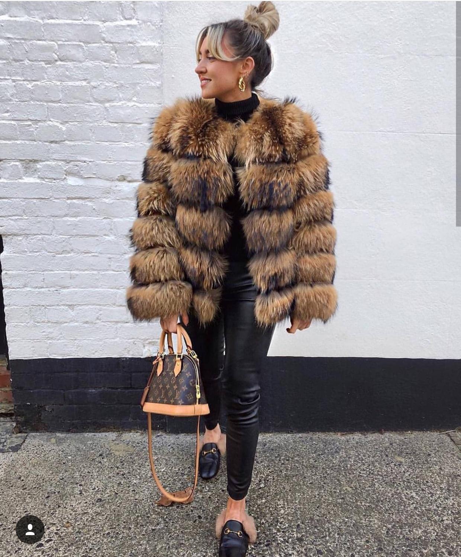 Fourrure De Vêtement Eifurkop Femmes Cheveux Manteaux Mode Manteau Naturel Réel Pour Raton L'hiver Laveur 5EEOwZqB
