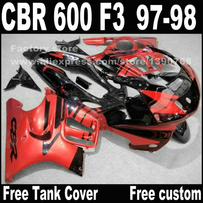 Lowest price Motorcycle parts for HONDA CBR 600 F3 fairings 1997 1998 CBR600 F3 97 98 red black fairing kit  A2 motorcycle parts for honda cbr 600 f3 fairings 1997 1998 cbr600 f3 97 98 brown white fairing kit w9 page 1
