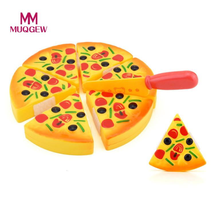 MUQGEW 7pcs Childrens Kids Pizza Slices Toppings Pretend Dinner Kitchen Play Food Toy Gift kitchen toys brinquedo menina