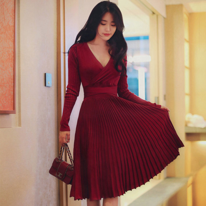 Robe Femme 2019 Winter Spring Women V Neck Long Sleeve Pleated Red Wrap Dress Ladies Knitted Mid Sweater Dresses