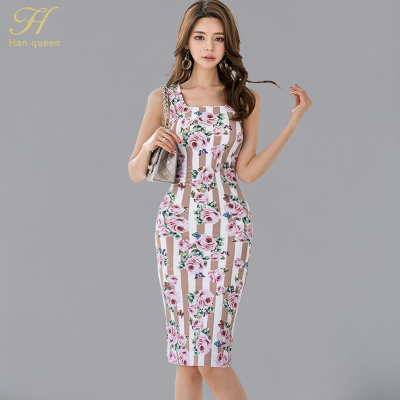 H Han Queen Sling Print Floral Pencil Vestido 2018 Summer New Korean Ol Elegant Slim Stripe  Dress Sleeveless Bodycon Dresses by H Han Queen