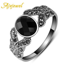 Size 6-8 Free Shipping New Fashion 18K White Gold Plated Black Resin Ring