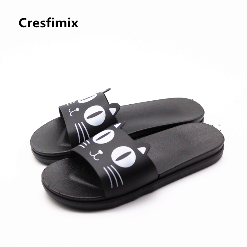 Cresfimix lady casual soft & comfortable slip on slides women fashion spring & summer black cat printed slippers cool slippers