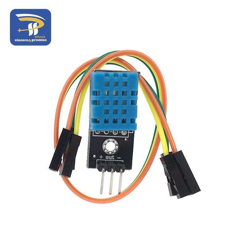 Цифровой датчик температуры и влажности DHT11 светодиодный модуль электронные строительные блоки с линией Dupont для Arduino - Цвет: Black