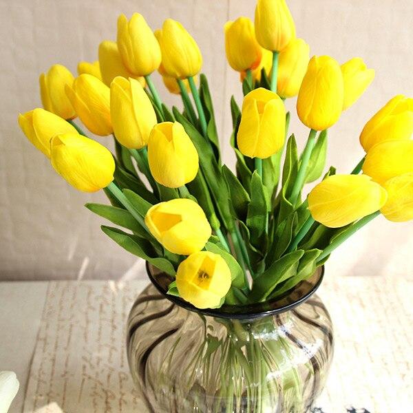 Bonito 20 Piezas Flor Unids Artificial Tacto Real Pu Tulipanes
