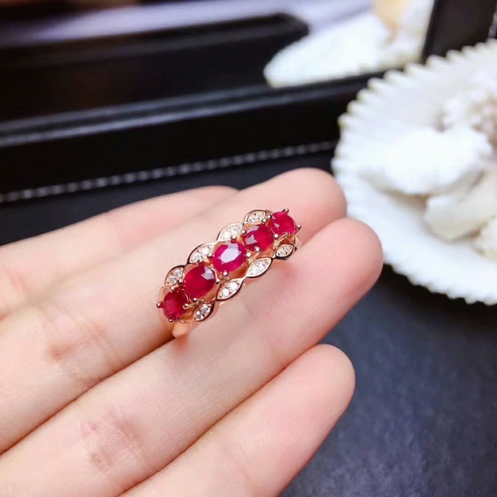 shilovem Natural New Burning Pigeon Blood Ruby Gemstone Rings for Women Real 925 Sterling Silver new gift mj0304666agh in Rings from Jewelry Accessories